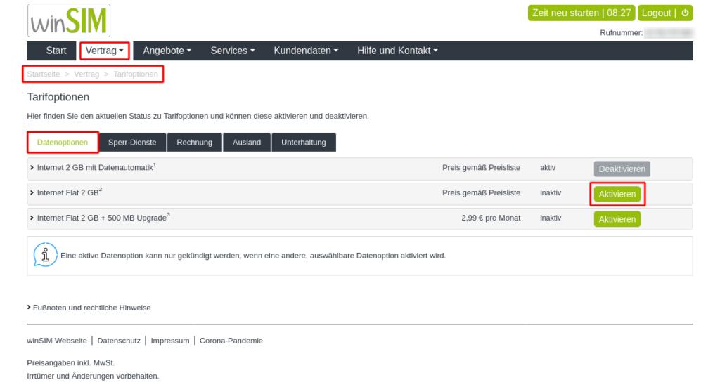 Drillisch Anbieter Datenautomatik deaktivieren am Beispiel von WinSim